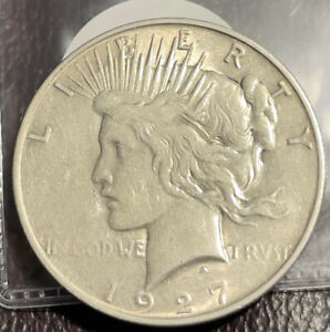 1927 D SILVER PEACE DOLLAR CLOSELY UNCIRCULATED