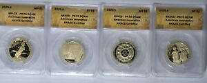 2020 S AMERICAN INNOVATION FIRST DAY ISSUE ANACS PROOF 70 DCAM 4 COIN SET
