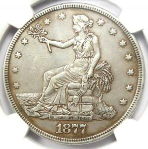 1877 TRADE SILVER DOLLAR T$1   CERTIFIED NGC AU DETAILS    COIN