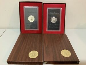 1971 S & 1972 S EISENHOWER DOLLAR IKE QTY  2  PROOF SILVER DOLLARS/BROWN BOXES