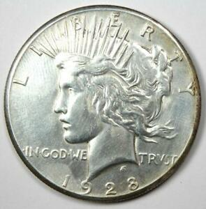 1928 PEACE SILVER DOLLAR $1  1928 P    CHOICE AU DETAILS  CLEANED     DATE