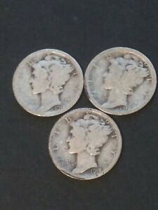 EARLY NICE 1918 P D S BETTER CIRC. SET OF 3 MERCURY DIMES 90  SILVER FREE SHIP