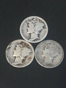EARLY NICER 1924 PDS 90  SILVER CIRC. SET LOT OF 3 FROM ROLL