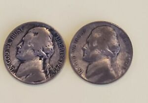 LOT OF TWO [2] 1945 SILVER WAR NICKELS  2 COINS ONE S AND ONE P MINTS