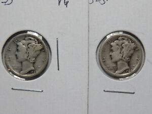 1925 D AND 1925 S MERCURY DIMES VG