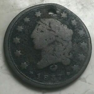 1837 MILLIONS FOR DEFENCE HARD TIMES TOKEN   HOLED