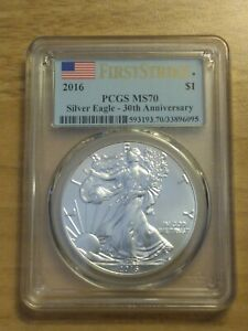 2016 SILVER EAGLE 30TH ANNIVERSARY   FIRST STRIKE PCGS MS70