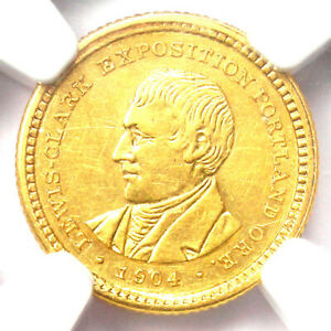 1904 LEWIS & CLARK GOLD DOLLAR G$1   CERTIFIED NGC AU DETAILS    COIN