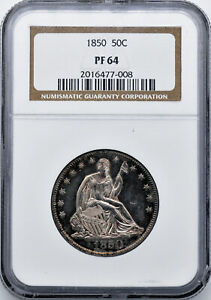 Click now to see the BUY IT NOW Price! 1850 LIBERTY SEATED 50C NGC PR 64