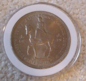 ELIZABETH II COIN     FIVE SHILLINGS   IN A PROTECTIVE CASE    YEAR 1953   NEW