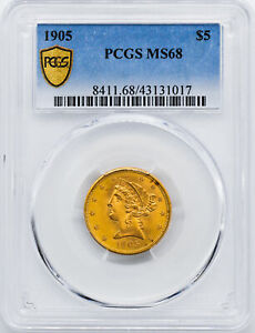 Click now to see the BUY IT NOW Price! 1905 LIBERTY $5 PCGS MS 68