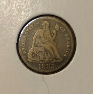 1885 SEATED LIBERTY DIME VG/F DETAILS TYPE COIN