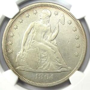 1864 SEATED LIBERTY SILVER DOLLAR $1   NGC XF DETAIL  EF    CIVIL WAR DATE COIN