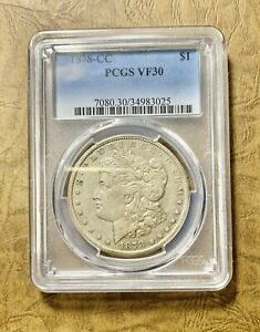 1878 CC MORGAN SILVER DOLLAR PCGS VF30 CLEAR LIBRARY/WINGS 143 YEARS OLD  NGT