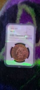 1876 LIBERTY $20 GOLD COIN MS 61