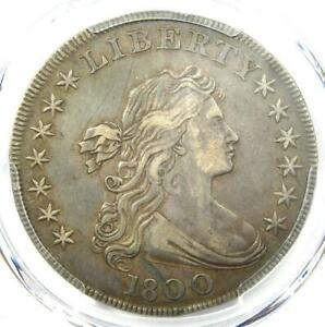 1800 DRAPED BUST SILVER DOLLAR $1 COIN  WIDE DATE  CERTIFIED PCGS XF DETAIL  EF