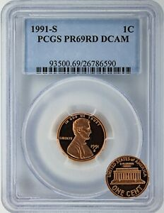 1991 S PCGS PROOF CERTIFIED RED DEEP CAMEO LINCOLN MEMORIAL CENT  PR69RD DCAM