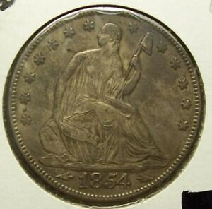 1854 SEATED LIBERTY HALF DOLLAR  ARROWS    EXTRA FINE DETAILS  UNCERTIFIED