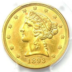 1893 O LIBERTY GOLD HALF EAGLE $5 COIN   PCGS UNCIRCULATED DETAIL  UNC MS