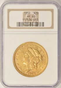 1852 $20 LIBERTY GOLD DOUBLE EAGLE COIN NGC XF40 PRE 1933 GOLD