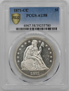 Click now to see the BUY IT NOW Price! 1871 CC LIBERTY SEATED S$1 PCGS AU 58