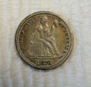 1876 SILVER SEATED LIBERTY DIME