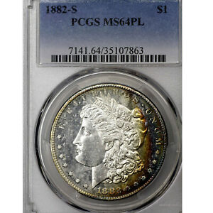 1882 S MS64 PL MORGAN SILVER DOLLAR $1 PCGS GRADED PROOFLIKE COLORFUL TONE