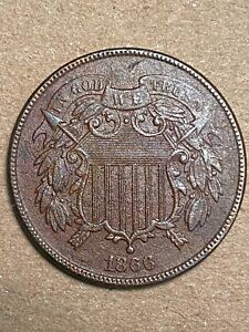 1866 2CENT PIECE XF DETAILS CORRODED AND POROUS