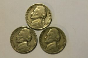 LOT X 3  1953 P D S   JEFFERSON NICKEL PDS   CIRCULATED 5 CENTS $.05 5C SET