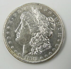 1883 S US MINT MORGAN SILVER $1 DOLLAR COIN   ABOUT UNCIRCULATED   FREE SHIP