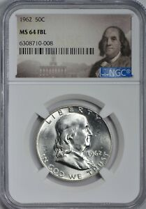 1962 FRANKLIN SILVER HALF DOLLAR NGC MS64 FULL BELL LINES   BRIGHT WHITE