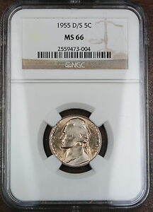 Click now to see the BUY IT NOW Price! 1955 D/S JEFFERSON NICKEL COIN NGC MS 66  OMM VARIETY
