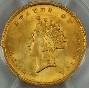 Click now to see the BUY IT NOW Price! 1854 $1 DOLLAR US GOLD PCGS MS 62  CHOICE BU COIN  TYPE 2 DGH