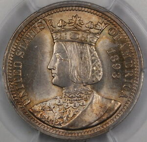 Click now to see the BUY IT NOW Price! 1893 ISABELLA SILVER QUARTER PCGS MS 64  NEAR GEM  COMMEMORATIVE COIN