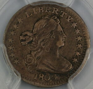 Click now to see the BUY IT NOW Price! 1803 DRAPED BUST SILVER HALF DIME PCGS VF DETAILS LARGE 8 BENT