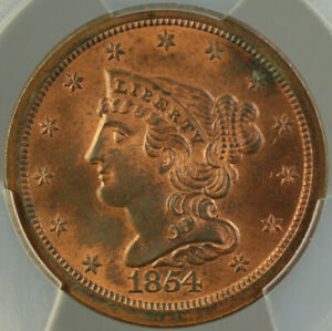 Click now to see the BUY IT NOW Price! 1854 BRAIDED HAIR HALF 1/2 CENT PCGS MS 64 RB  MOSTLY RED  BETTER COIN DGH