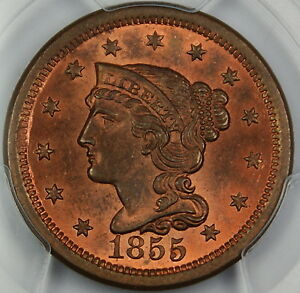 Click now to see the BUY IT NOW Price! 1855 BRAIDED HAIR LARGE CENT 1C PCGS MS 64 RB UPRIGHT 55  MOSTLY RED
