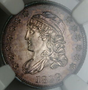 Click now to see the BUY IT NOW Price! 1829 CAPPED BUST SILVER HALF DIME NGC UNC DETAILS TONED GEM BU EXAMPLE BW