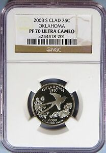 Click now to see the BUY IT NOW Price! 2008 S CLAD OKLAHOMA STATE QUARTER NGC PF 70 UC   EK 52