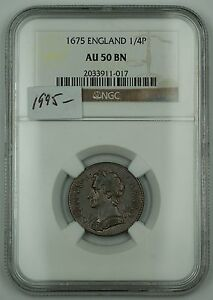 Click now to see the BUY IT NOW Price! 1675 ENGLAND 1/4P  FARTHING  NGC AU 50 BN BROWN AKR