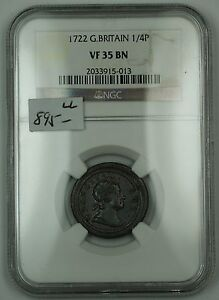 Click now to see the BUY IT NOW Price! 1722 GREAT BRITAIN 1/4P COIN  FARTHING  LARGE LETTERS NGC VF 35 BN BROWN AKR