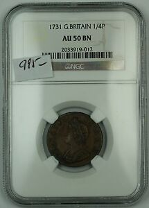 Click now to see the BUY IT NOW Price! 1731 GREAT BRITAIN 1/4P COPPER COIN  FARTHING  NGC AU 50 BN BROWN AKR