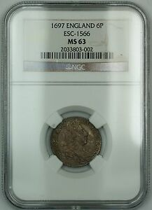 Click now to see the BUY IT NOW Price! 1697 ENGLAND 6P SIX PENCE SILVER COIN ESC 1566 WILLIAM III NGC MS 63 AKR
