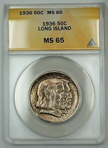 Click now to see the BUY IT NOW Price! 1936 LONG ISLAND COMMEMORATIVE SILVER HALF DOLLAR 50C ANACS MS 65 TONED H/D