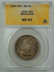 Click now to see the BUY IT NOW Price! 1934 MARYLAND COMMEMORATIVE SILVER HALF DOLLAR COIN ANACS MS 63  BETTER  D TONED