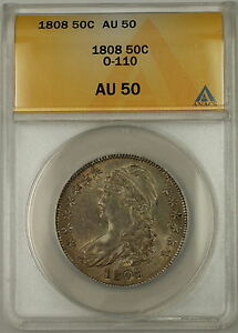 Click now to see the BUY IT NOW Price! 1808 CAPPED BUST SILVER HALF DOLLAR 50C O 110A ANACS AU 50  BETTER COIN