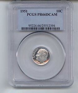 Click now to see the BUY IT NOW Price! 1951 SILVER PROOF ROOSEVELT DIME GRADED PR66DCAM BY PCGS