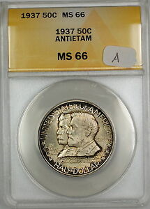 Click now to see the BUY IT NOW Price! 1937 ANTIETAM COMMEM SILVER HALF DOLLAR 50C COIN ANACS MS 66 TONED GEM WP  A