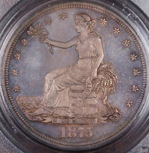 1875 SILVER TRADE DOLLAR PCGS MS 64  GEM BU  TONED COIN  DGH