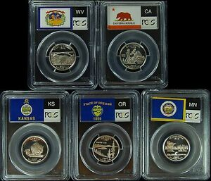 Click now to see the BUY IT NOW Price! 2005 S PCGS PR70DCAM SET OF 5 STATEHOOD SILVER QUARTER